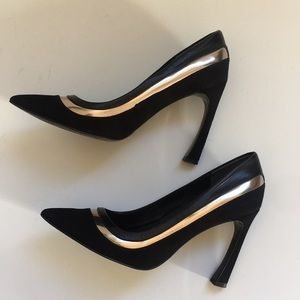 Adrianna Papell Black And Silver Suede Pumps